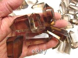 100 pieces NATURAL Smokey quartz crystal double Point healing