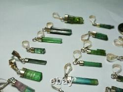 104 Carat Amazing Multi Color Tourmaline Pendant With Silver 31 Pieces Afghan