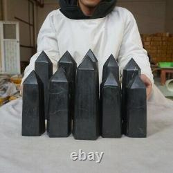 10 Pieces Natural Shungite Protect Radiation Crystal Point Tower Healing Russia