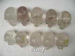 10 pieces AA Carved NATURAL Clear quartz crystal skull healing