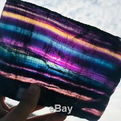 1200g Natural Rainbow Fluorite slice Crystal Quartz Piece Healing Specimen Stone