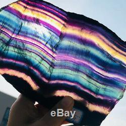 1376g Natural Rainbow Fluorite slice Crystal Quartz Piece Healing Specimen Stone