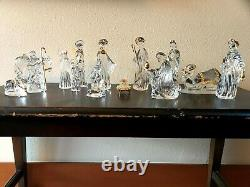 14 Piece Gorham Lead Crystal Nativity Set with Gold Coloured Accents