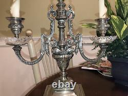 17 Castilian Imports Silver Crystal Center Piece 3 CANDLE Stand Made in India