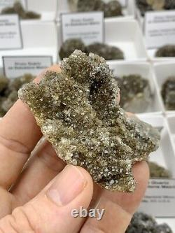18 Piece Wholesale Flat of High Grade Sparkling NY Herkimer Diamond Druzy