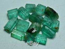 23 Carat 15 Pieces Natural Green Color Rough Emerald Crystals Lot