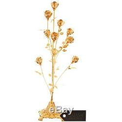 24K Gold Plated Crystal Studded 10 Piece Rose Bouquet Ornament by Matashi