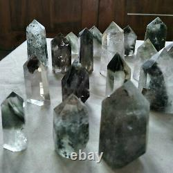2.2LB 12Pieces Natural Phantom Ghost Clear Quartz Crystal Points Tower Healing