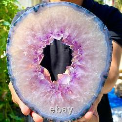 2.37LB Amazing large and thick natural amethyst hole piece F463