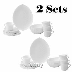 2 SETS of Vine Collection Opal 40-Piece Glassware Dinnerware Set by Matashi