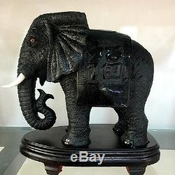 2 pieces Natural obsidian carved elephant Crystal Healing Crafts Distinctive