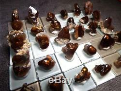 30 Piece Lot Windowed Fire Agate Mounted Display Specimens All With Color