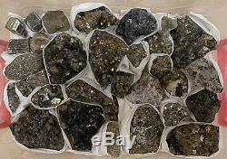 32 Piece Gorgeous Pyrite Quartz Boulangerite Specimen Flat Zacatecas Mexico