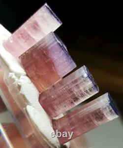 43 Carat 4 Pieces Bi Color Pink Blue Cap Tourmaline Crystal Lot From Afghanistan