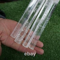 4 Pieces 14-16 Tall Thin Natural Clear White Quartz Crystal Point Wands Healing