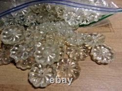 500 Antique Vintage Clear Glass Crystal Flower Rosette Prisms pieces 1 DIA