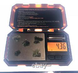 5 Piece Lot Besednice Moldavite Small Crystals 4.36gr/21.80ct Czech Rep