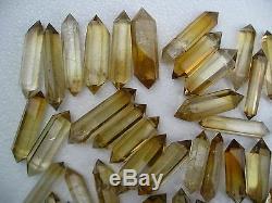 66 Pieces NATURAL Citrine quartz crystal double point Healing