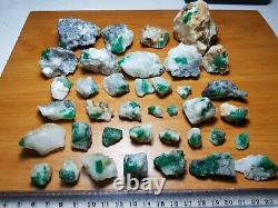 680-Gram Natural Emerald Specimen 32 Pieces From Swat Mine Pakistan