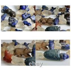 69 pieces Roman lapis agate crystal jade ston animals birds beads 1st century