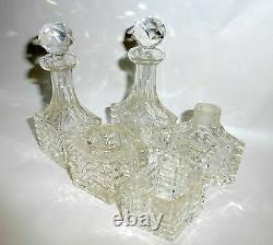 6 Piece Art Deco Beveled Cut Crystal Perfume Bottles Vanity Set in Metal Cart