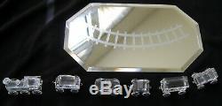 6 Piece Swarovski Crystal Train Set with Mirror Plate Train Track RMC