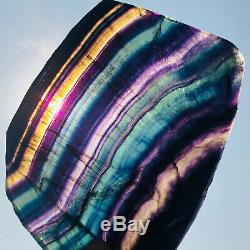 966g Natural Rainbow Fluorite Crystal Quartz Piece Healing Specimen Stone