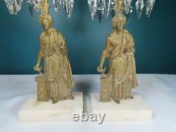 ANTIQUE 2 piece set SOLID BRASS, Marble & Crystal Girandole Figurative