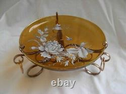 ANTIQUE FRENCH ENAMELED CRYSTAL TABLE CENTER PIECE, LATE 19th CENTURY