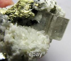 APATITE TWIN CRYSTALS with CALCITES on PYRITE MATRIX from PERÚ. GORGEOUS PIECE