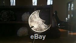 A Translucent Quartz Crystal Hand Carved Abstract MOON with Stand Display Piece