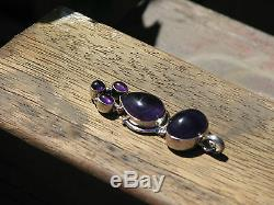 Amethyst Crystal Pendant Set in Sterling Silver 925 Statement Piece