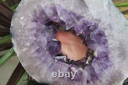 Amethyst Crystal Slice transverse semi polished statement piece & stand purple