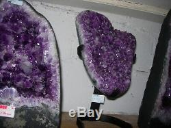 Amethyst polished display piece on iron stand De14