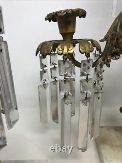 Antique 3 Piece Girandole Candelabra Candlestick Mantle Set w Crystal Prisms