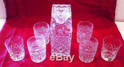 Antique Czechoslovakia Bohemia Crystal Whiskey Decanter 7 Piece Set