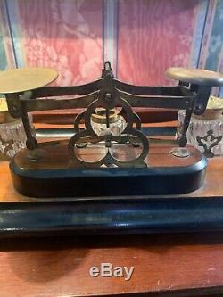Antique English Triple Crystal Inkwell And Postal Scale Beautiful Piece