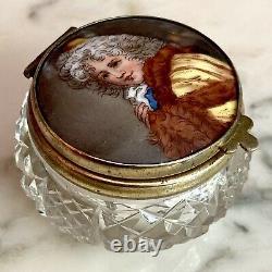 Antique French Cut Crystal & Porcelain Miniature Portrait Patch Box Trinket Box