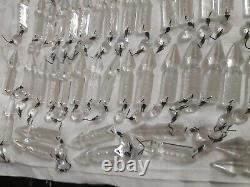 Antique French long cut luster spear crystal glass 100 pieces size 3.5 total
