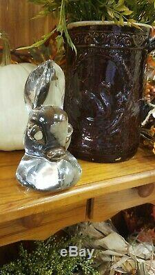Antique Heisey Crystal Signed Gazelle DOE HEAD Bookend Beautifull Piece