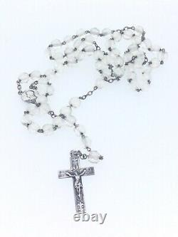 Antique Silver Praying Rosary Crystal Beads Hallmarked Very Fine Religious Piece