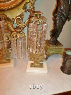 Antique Three Piece Girandole Set with Marble Base & Huge 7 Long Crystal Prism
