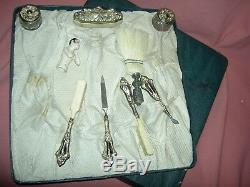 Antique crystal & silver 9piece boudoir VANITY SET in original fitted gift box