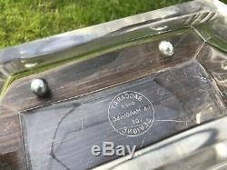 Art Deco Baccarat Crystal Centre Piece. Maccassar Wood. Signed. 1920. Rare
