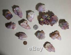Aura Spirit Quartz Cluster, Cactus Quartz Crystal Lot of 12 pieces