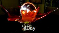 Authentic Fire Glow Dragon Spirit Crystal Ball with Stand. Large Clear Piece