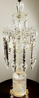 Baccarat Style Hollywood Regency Fine Crystal Table Lamp 100% Complete Piece