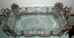 CENTER-PIECE RARE STERLING & CRYSTAL BOWL 19 C FRENCH With4 RAMS HEAD 3800 GR
