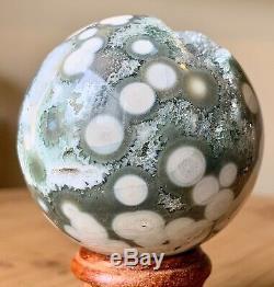 COLLECTORS Piece 57mm 8.7OZ Natural Geode Ocean Jasper Crystal Sphere Ball