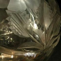 Crystal cut glass vase. American Brilliant Period. Finely cut piece